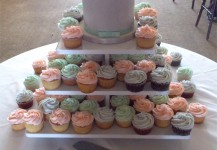 Grey, Mint & Coral Cupcakes